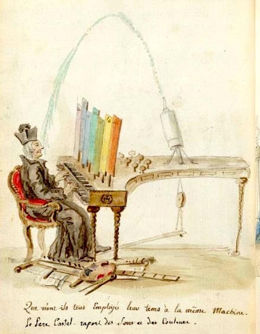 "A caricature of Louis-Bertrand Castel's ""ocular organ"" by Charles Germain de Saint Aubin. Waddesdon, The Rothschild Collection (The National Trust)"