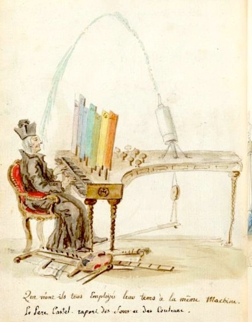 "A caricature of Louis-Bertrand Castel's ""ocular organ"" by Charles Germain de Saint Aubin. Waddesdon, The Rothschild Collection (The National Trust)"